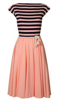 Peach and stripes dress.