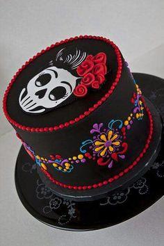 Skulls, calavera, day of the dead sugar skull cake Pretty Cakes, Cute Cakes, Beautiful Cakes, Amazing Cakes, Day Of The Dead Cake, Day Of The Dead Party, Bolo Halloween, Halloween Cakes, Halloween Halloween