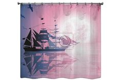 Old Ship Sailing Open Seas Shower Curtain only at http://www.visionbedding.com/old-ship-sailing-open-seas-shower-curtain-p-2996192.html  #OldShipSailing, #CustomShowerCurtain, #CustomBathDecor