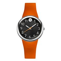 Philip Stein Colors Black Sport Dial Orange Strap Watch (£205) ❤ liked on Polyvore featuring jewelry, watches, sport watches, sports wrist watch, dial watches, sport jewelry and philip stein