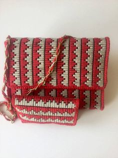 Set of bag and wallet for women, embroidered in plastic canvas with flattened cotton thread in two colors (red and beige) by NatashasCreationsGR on Etsy Plastic Canvas Ornaments, Plastic Canvas Crafts, Plastic Canvas Patterns, Diy Wallet No Sew, Diy Wallet Pattern, Canvas Purse, Canvas Wallet, Canvas Bags, Crochet Handbags