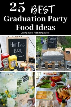 Looking for easy graduation party food ideas for your high school graduation? These best graduation party food buffet and beverage ideas are sure to wow your guests. Graduation Party Desserts, Outdoor Graduation Parties, Graduation Party Foods, Graduation Ideas, Party Food On A Budget, Party Food Buffet, Dinner Party Menu, Outdoor Party Foods, Feeding A Crowd