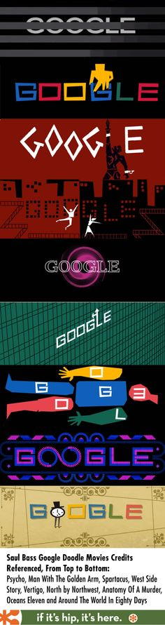 A look at the Google Doodle honoring graphic designer Saul Bass and videos of the opening titles of all the movies that inspired it.