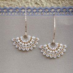 Swarovski pearl bridal earrings, Dangle pearl earring, white earrings, wedding pearl earrings, unique bridal jewelry, Fan earrings by LioraBJewelry on Etsy https://www.etsy.com/listing/213073202/swarovski-pearl-bridal-earrings-dangle