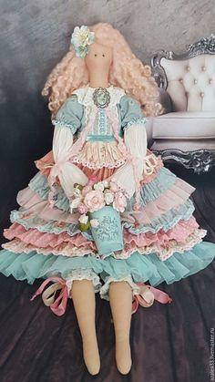 Купить Текстильная интерьерная куклаТильда - бледно-розовый, бледно-голубой, тильда, тильда кукла