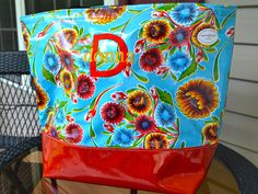 Sweet Flower Aqua with Red Glitter Large Oilcloth Tote.