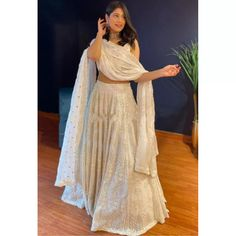 Lehenga Choli : White georgette embroidered work lehenga ...