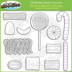 Christmas Candy Line Art