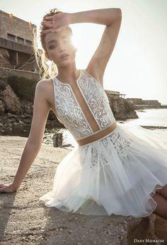 danny mizrachi 2018 bridal sleeveless halter jewel neck heavily embellished bodice tulle skirt above the knee short wedding dress keyhole back (21) mv -- Dany Mizrachi 2018 Wedding Dresses