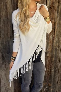 Cowl Neck Tassel Asymmetrical Sweater