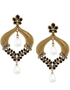 Bindhani Cz Stone Chandbali Ethnic Ear Rings For Girls