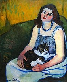 Jeune Fille au Chat Suzanne Valadon Oil on Canvas 1919 Private Collection Art And Illustration, She And Her Cat, Maurice Utrillo, Photo Chat, Inspiration Art, Post Impressionism, Fine Art, Renoir, French Artists