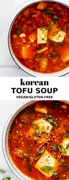 Korean Tofu Soup A deliciously spicy vegan Korean soup, perfect for warming up on those cold winter nights! The post Korean Tofu Soup appeared first on Gastronomy and Culinary. Vegan Soups, Vegetarian Recipes, Cooking Recipes, Healthy Recipes, Korean Tofu Soup Recipe Vegetarian, Vegan Recipes Korean, Vegan Korean Food, Vegan Food, Spicy Soup