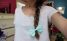 Fishtail braid + light blue bow