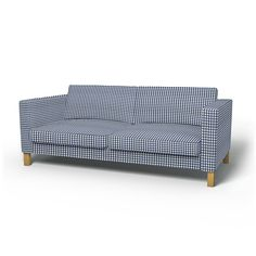 Karlstad, Housses de canapé, 3 places, Regular Fit utiliser le tissu Vreta Gingham Check Blue/White