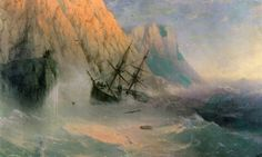 Ivan Aivazovsky - The Shipwreck, 1875.  Ivan Konstantinovich Aivazovsky (Russian: Ива́н Константи́нович Айвазо́вский, Armenian: Հովհաննես Այվազովսկի Hovhannes Ayvazovski;[b] 29 July 1817 – 2 May 1900) was a Russian Empire Romantic painter. He is considered one of the greatest marine artists in history. Baptized as Hovhannes Aivazian, Aivazovsky was born into an Armenian family in the Black Sea port of Feodosia and was mostly based in his native Crimea.