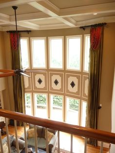 Traditional Living Room Window Treatments window treatment ideas | custom window treatments - two story