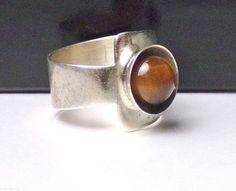 Modernist Sterling Silver Ring Tigers Eye Wide Band Vintage #Unbranded #Band