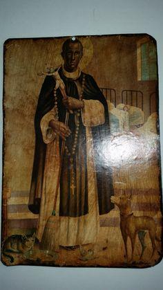 "Vintage Saint Martin de Porres Print Vintage Catholic Saint Wall Art Folk Art Image of St. Martin Decoupage  Metal Plaque 1980's  15"" x 10"" by ZoomVintage on Etsy"