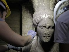 Fever mounts as stunning statues found at ancient Greek tomb. Two statues of a Caryatid inside the Kasta Tumulus in ancient Amphipolis, nothern Greece, September,