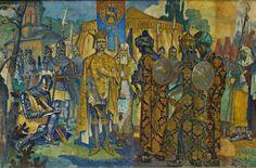 Romanian Atheneum Fresco Detail 8 - Mircea the Elder Voivode of Wallachia late XIVth century Vlad The Impaler, Moldova, Middle Ages, Fresco, Renaissance, Medieval, Old Things, Armies, Albania