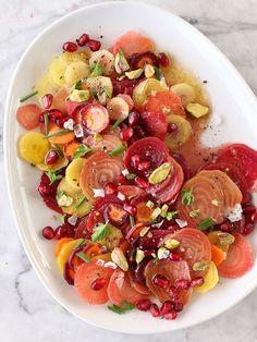 Beet Carrot and Pomegranate Salad FoodieCrush.com