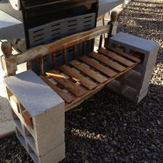 6 Concrete block bench with 2 redwood posts, Goodwill shelf for the seat and old twin headboard for the back. Or repurpose an old pallet for the seat. Furniture Decor, Outdoor Furniture, Outdoor Decor, Outdoor Stuff, Outdoor Shelves, Papercrete, Twin Headboard, Cement Crafts, Old Pallets