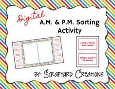 Digital Time (AM/PM) Sorting Activity (Distance Learning) Sorting Activities, Time Activities, Am Pm, Teacher Newsletter, Teacher Pay Teachers, Distance, Students, Teaching, Education