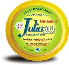 Julia 10% voimakkaampi maku on kehittynyt yhdeksän viikon kypsytyksen aikana. Julia 10% sopii erityisesti leivän päälle ja salaatteihin.