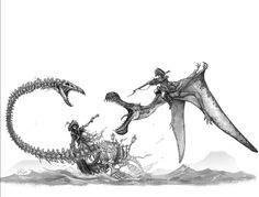 Creature Concept Art, Creature Design, Fantasy Creatures, Sea Creatures, Dinosaur Pictures, Creature Drawings, D&d Dungeons And Dragons, Dinosaur Art, Prehistoric Creatures