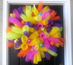 Easter Wreath Curly Deco Mesh Easter Door Decor by SassyFrassyHome, $35.00