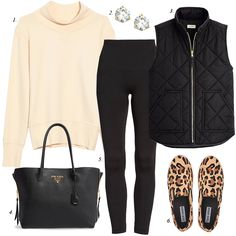 athleisure outfit leopard sneakers quilted vest women fashion winter fashion casual women outfit prada tote j crew quilted vest outfit ideas build wardrobe staple wardrobe how to build a staple wardrobe Casual Winter Outfits, Winter Fashion Outfits, Trendy Fashion, Fashion Ideas, Ladies Fashion, Fashion Styles, Men Fashion, Outfit Winter, Fashion 2020
