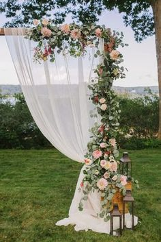 Floral wedding ceremony arbor