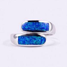 """Ezüst kék opál gyűrű """"áll.ker"""""""