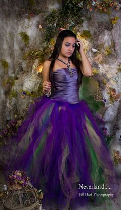 Mardi Gras Streamer floor length tutu skirt formal adult wedding bridal party purple fairy carnival -You Choose Size- Sisters of the Moon