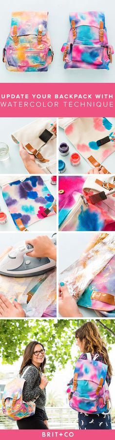 Update Your Old Backpack With This SUPER Pretty Watercolor Technique