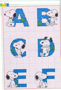 Alfabeto navideño de Snoopy para punto de cruz.