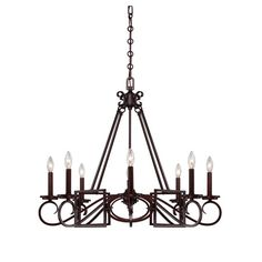 Illuminate your foyer or dining room with this elegant 8-light chandelier, featuring a scrolling design and Mohican bronze finish.  Prod...