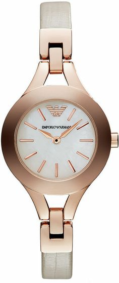 Emporio Armani Watch, Women's Nude Leather Strap 28mm AR7354 on shopstyle.com