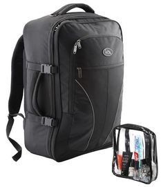 Cabin Max Palermo Carry-on Backpack with Detachable Toiletry Bag 44 litres 55x40x20cm Black