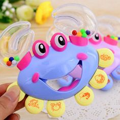 New Enlightment Crab Shape Rattles for Babies Handbell Intelligence Baby Rattles Mobiles Toy Plastic