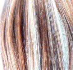 Clip-In Hair Extension Highlights Streak - Bleach Blonde/ Warm Brown