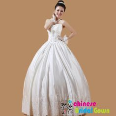 Style 6089, Amazing Satin Ball Gown Sweetheart Chinese Wedding Dress by CBG.