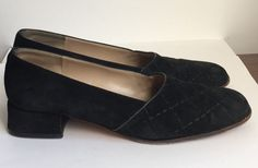 Adorable and rare Salvatore Ferragamo pumps with a low heel. Made from black suede with a stitched quilted diamond design on the uppers. Very
