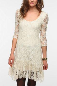 rr7Ecote Ruffle Hem Lace Dress  #UrbanOutfitters
