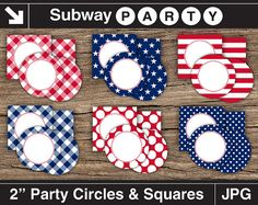 """Patriotic 4th of July Printable Cupcake Toppers. Party Circles & Squares 2"""", Blank Labels, Tags. Add Your Own Text DIY Jpg. INSTANT DOWNLOAD from subwayParty.Etsy.com #partyprintables, #July4th"""