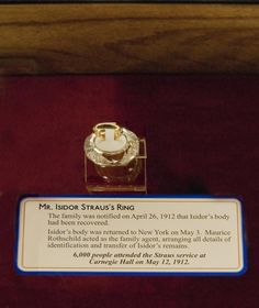 Titanic|Isidor Straus' wedding ring|-- That is certainly quite the find.