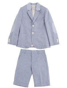 Summer suit for boys in Provençal blue. Jongenskostuum in provençaals blauw.