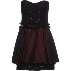 Babylon Short Dress ($200) ❤ liked on Polyvore featuring dresses, maroon, sleeveless cocktail dress, lace mini dress, lace dress, deep v-neck dress and lace cocktail dress