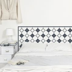 This geometric headboard will give your bedroom a quick and affordable make over. It comes in 4 sizes so it fits most common beds and in 30 different colours to match your bedroom decor. Wall Decal Sticker, Wall Stickers, Bedroom Wall, Bedroom Decor, Headboard Decal, Bathroom Decals, Headboard Designs, Wall Tiles, Your Space